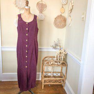 Vintage 90's Maxi Button Up Front Purple Dress 12